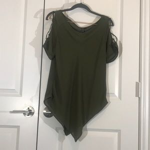 Lace up cold shoulder olive army green sheer top